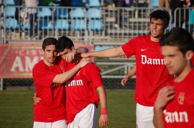 Celebració d'un gol del CF Damm