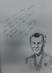 Caricatura de Kubala signada