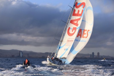 01/04/2015, Barcelona (ESP), Barcelona World Race 2014-15, Gerard Marin and Anna Corbella (GAES Centros Auditivos) arrival in 3rd place.